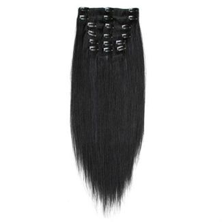 7er Set Fiber Hair Extensions 1# - Schwarz