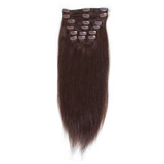 7er Set Fiber Hair Extensions 2# - Dunkelbraun