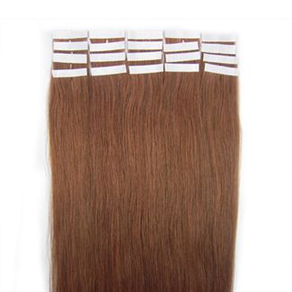 Tape-on Hair 60 cm Rotbraun 30#
